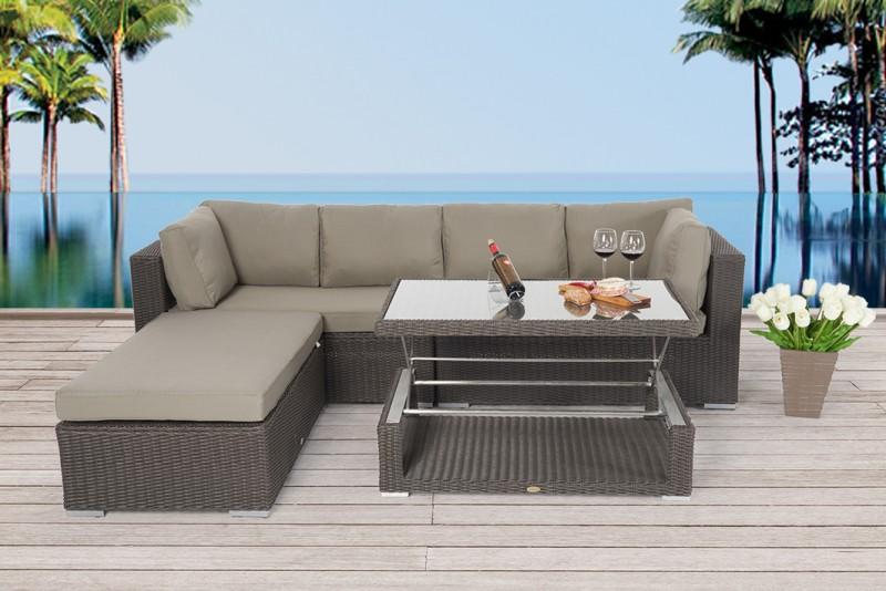 Grand choix de meubles de jardin en rotin avec table réglable en hauteur
