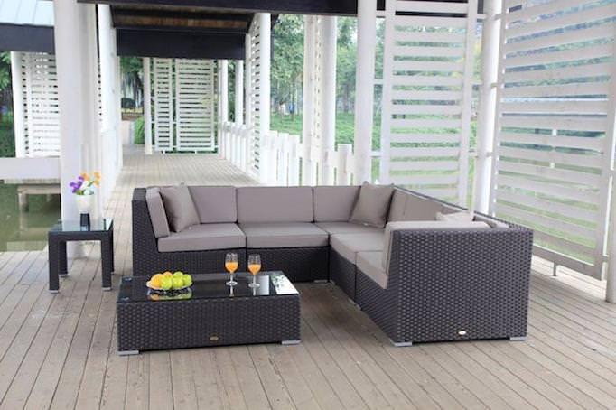 Gartenmöbel - Rattan Lounge braun