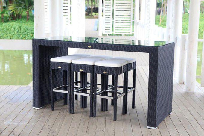 Möbel für Garten Rattan Bar schwarz