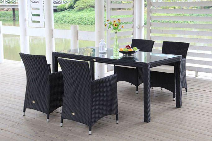 Gartenmöbel Esstisch Set schwarz