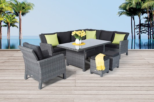 gartenm bel gartentische gartenst hle rattan tisch addams 150cm mix grau. Black Bedroom Furniture Sets. Home Design Ideas