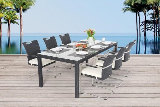 gartenmobiliar gartentische gartenst hle rattan tisch colin 220cm schwarz. Black Bedroom Furniture Sets. Home Design Ideas