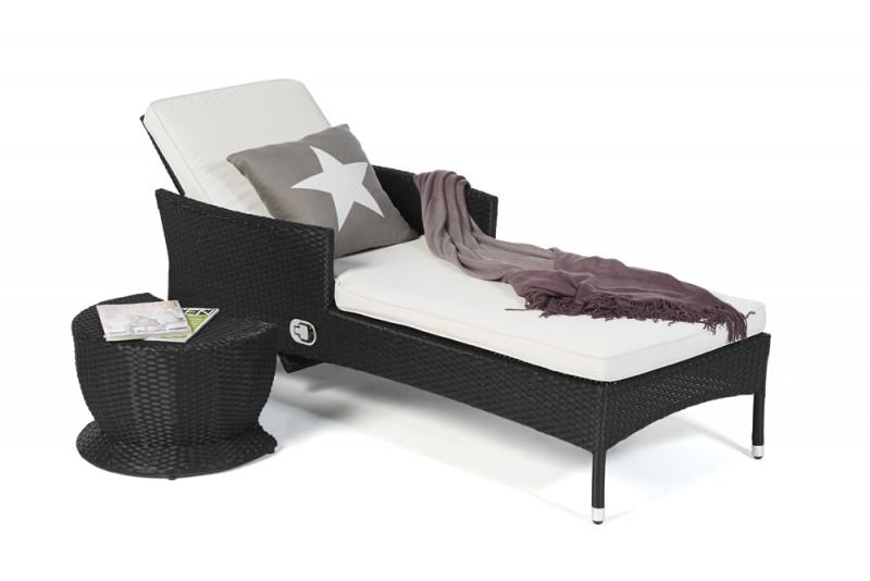 Gartenmobel Sofa Lounge : Gartenmöbel Liege Bombay gerillt Überzug beige mit Beistellhocker
