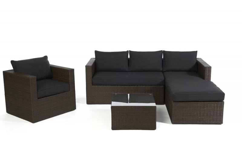 polyrattan lounge set schwarz, gartenmöbel - gartenmobiliar - gartentische - gartenstühle - lounge, Design ideen