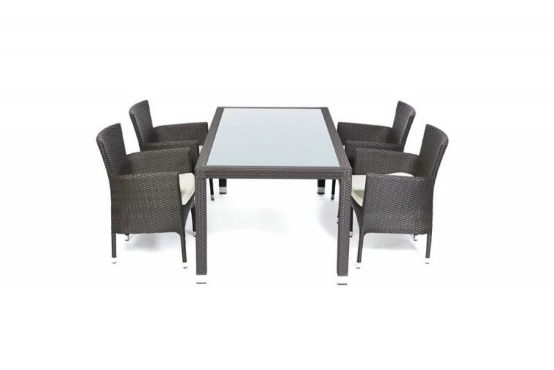 Teakholz Gartenmobel Karchern : Edler Gartentisch mit Milchglaseinlage und stapelbaren Stühlen