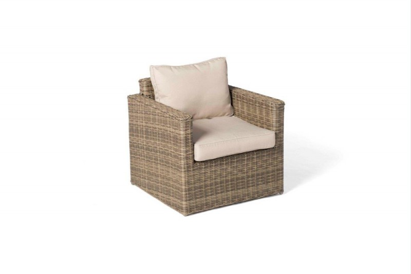 Pia Rattan Lounge Sessel Natural Round