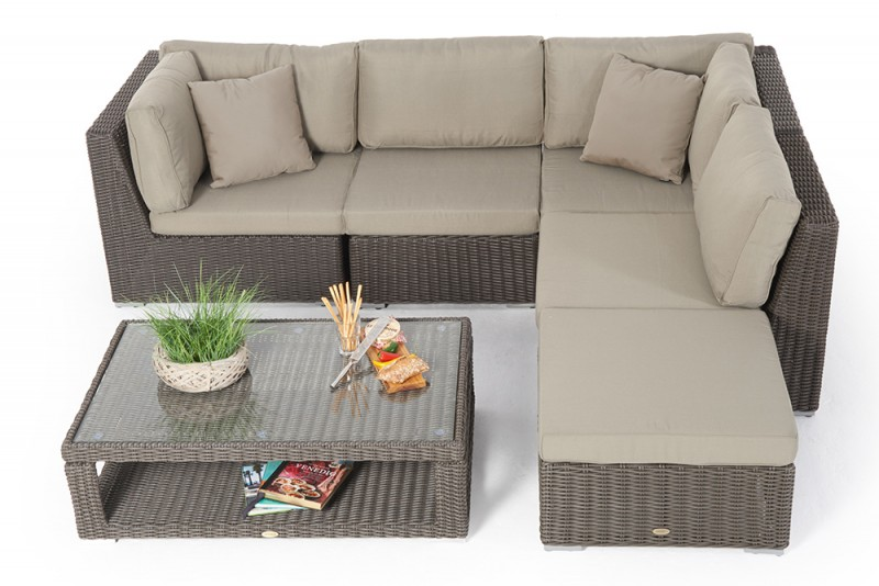 Rattan lounge braun  Gartenmöbel - Rattanmöbel - Cloe Rattan Lounge Round Braun