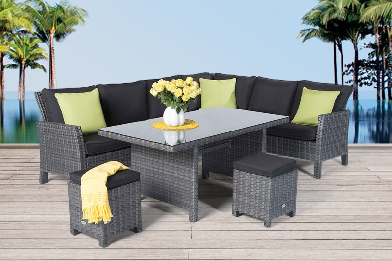 gartenm bel gartentische gartenst hle rattan tisch darling 150cm mix grau. Black Bedroom Furniture Sets. Home Design Ideas