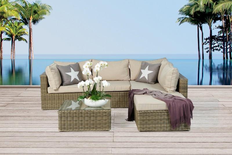 Gartenmöbel Princeton Rattan Lounge Natural Round