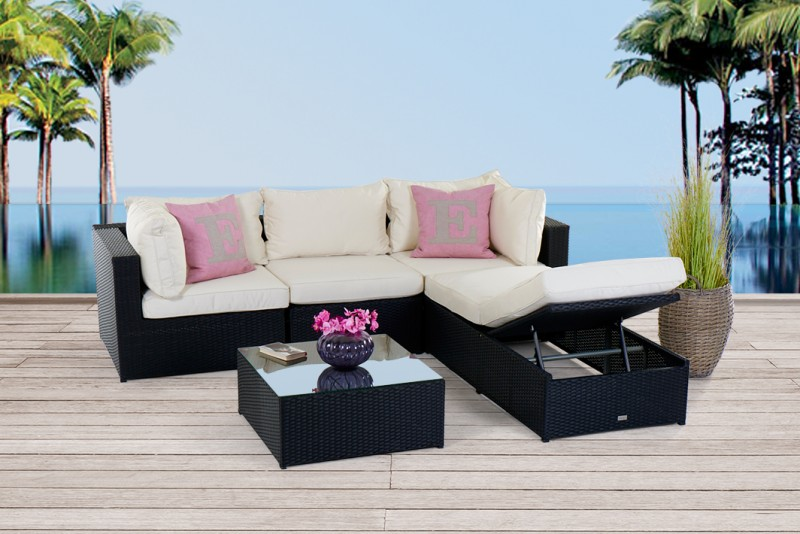 gartenm bel rattanm bel ibiza rattan lounge schwarz. Black Bedroom Furniture Sets. Home Design Ideas