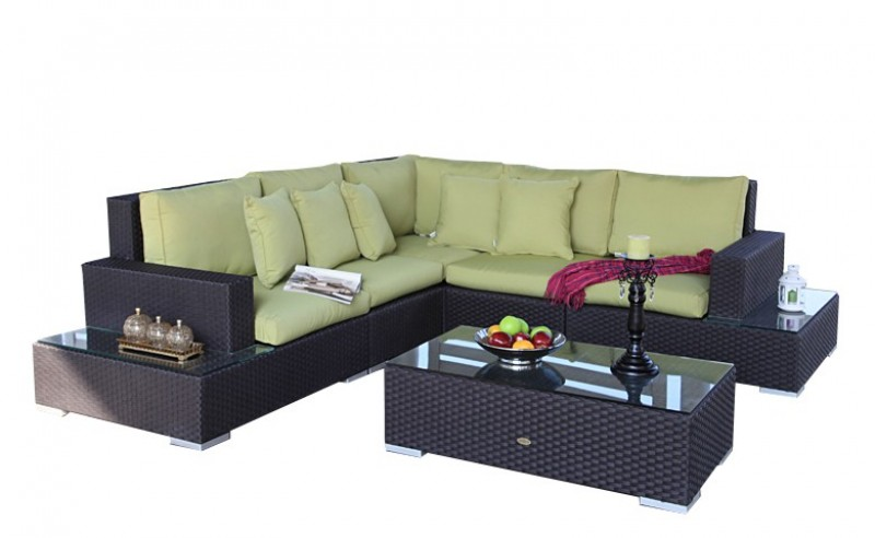 gartenm bel gartenmobiliar rattan lounge city berzug lime. Black Bedroom Furniture Sets. Home Design Ideas