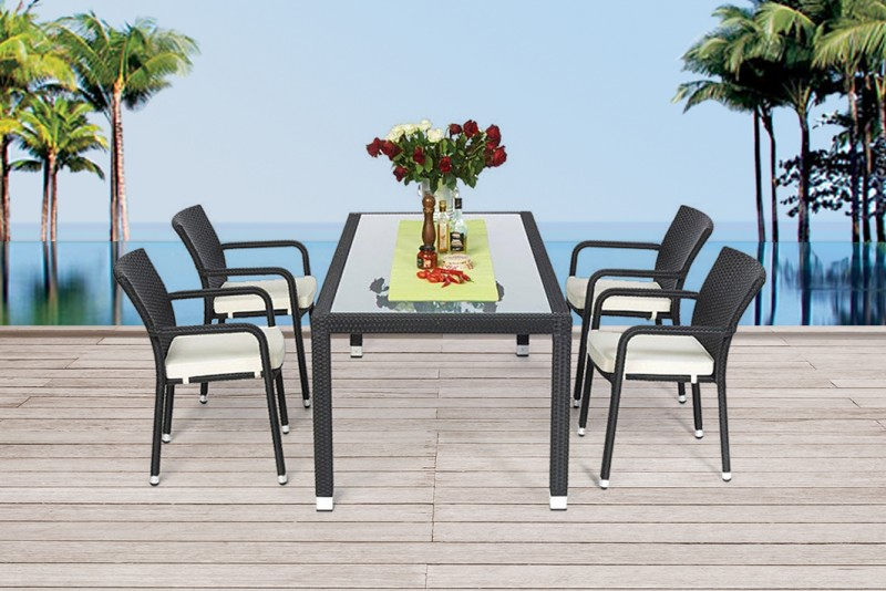 AuBergewohnlich Gartenmöbel Rattan Gartentisch Set 180cm Toronto Schwarz