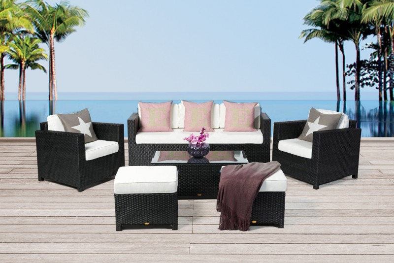 gartenm bel gartenmobiliar rattan lounge bona dea deluxe 3er schwarz. Black Bedroom Furniture Sets. Home Design Ideas