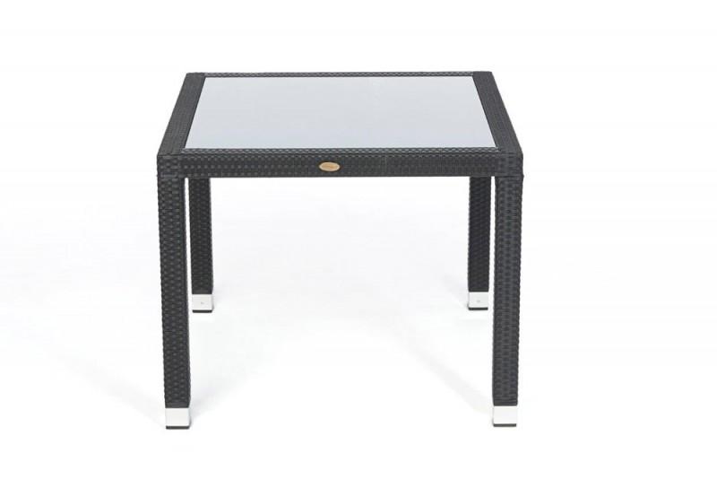 edler gartentisch 90 x 90cm mit milchglaseinlage und stapelbaren st hlen toronto schwarz. Black Bedroom Furniture Sets. Home Design Ideas