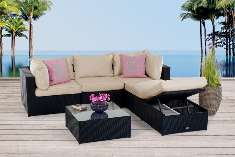 lounge rattan gartenmobel, gartenmöbel - rattanmöbel - ibiza rattan lounge schwarz, Design ideen