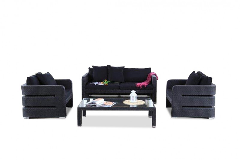 polyrattan lounge set schwarz, gartenmöbel - gartenmobiliar - gartentische - gartenstühle, Design ideen