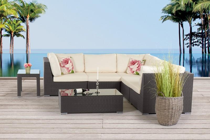 Rattan gartenmobel braun for Gartengestaltung lounge