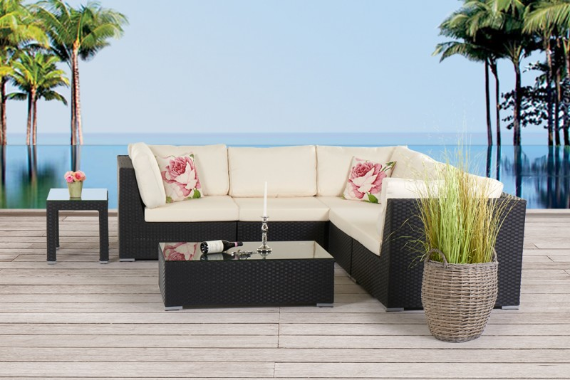 Cool wioming gartenmbel rattan lounge schwarz with gartenmbel rattan set