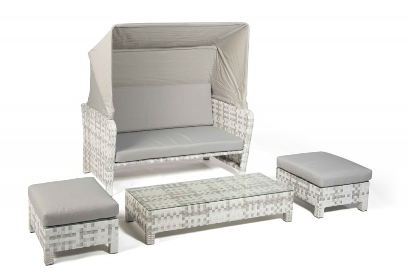 rattan lounge florida strandkorb grau weiss. Black Bedroom Furniture Sets. Home Design Ideas