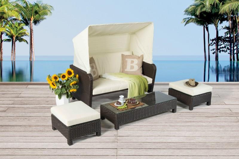 Rattan Lounge - Florida Strandkorb Braun - Gartenmöbel - Rattanmöbel