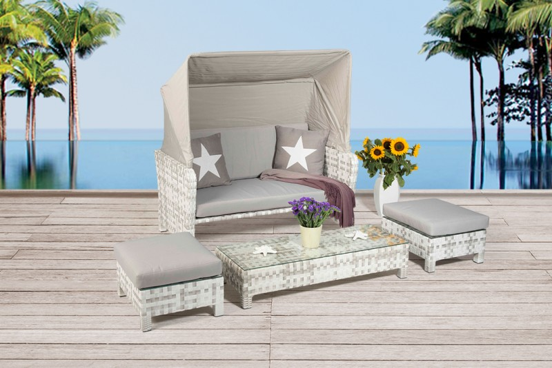 Rattan Lounge Florida Strandkorb Grau Weiss Gartenmobel