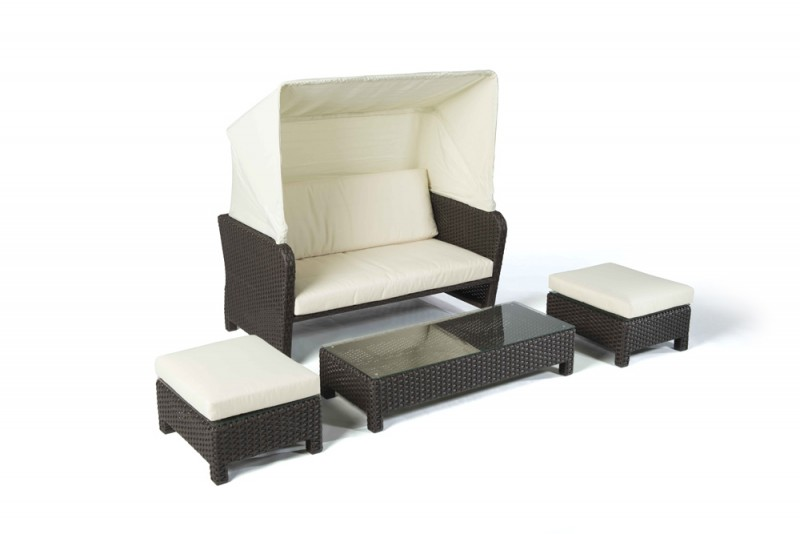 rattan lounge florida strandkorb braun gartenm bel rattanm bel. Black Bedroom Furniture Sets. Home Design Ideas