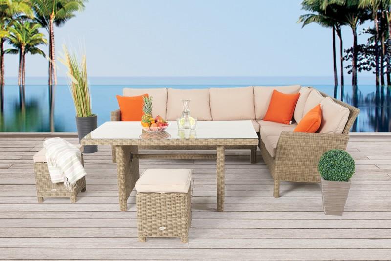 Uberlegen Das Darling Rattan Lounge Dining Gartenmöbel Set Besteht Aus Fünf Teilen.  Das Rattan Tisch Set Ist Wetterbeständig Und Robust. Zum Gartentisch Gehört  Ein ...