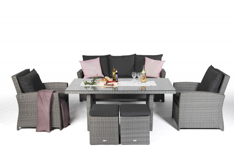 gartenmobiliar gartentische gartenst hle rattan tisch brisbane 170cm mix grau. Black Bedroom Furniture Sets. Home Design Ideas