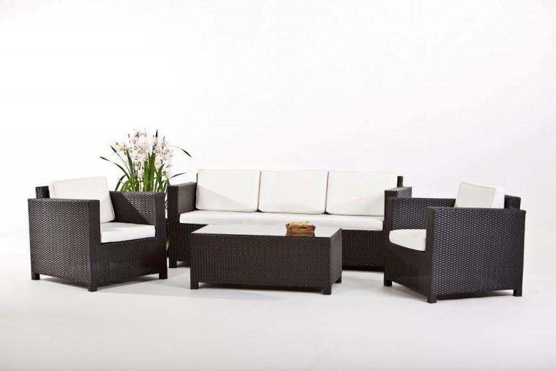 Rattan lounge schwarz  Gartenmöbel - Gartenmobiliar - Rattan Lounge - Bona Dea 3er - schwarz