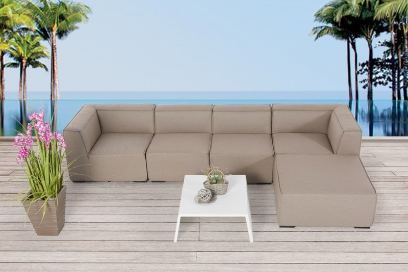 Outdoor gartenlounge outdoor lounge mia outdoorm bel sandbraun - Gartenmobel stoff ...