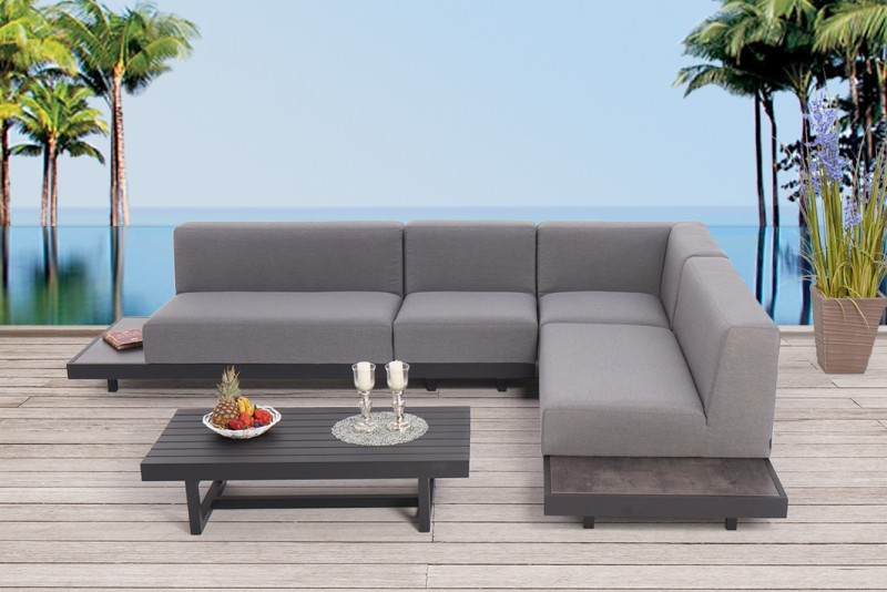 moderne outdoor m bel mit wetterfesten lounge polster samu loungem bel grau. Black Bedroom Furniture Sets. Home Design Ideas