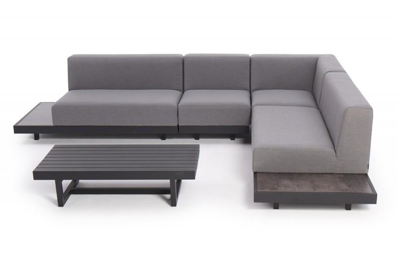 moderne outdoor m bel mit wetterfesten lounge polster samu loungem bel grau. Black Bedroom Furniture Sets. Home Design Ideas