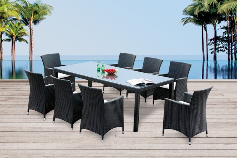 gartenmobiliar gartentische gartenst hle rattan tisch montreal 220cm schwarz. Black Bedroom Furniture Sets. Home Design Ideas