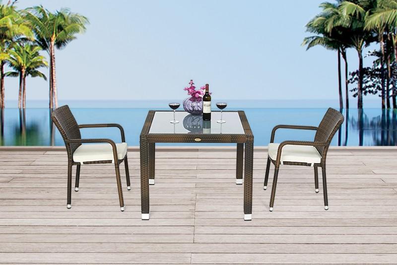 edler rattan tisch 90 x 90cm mit milchglaseinlage und. Black Bedroom Furniture Sets. Home Design Ideas