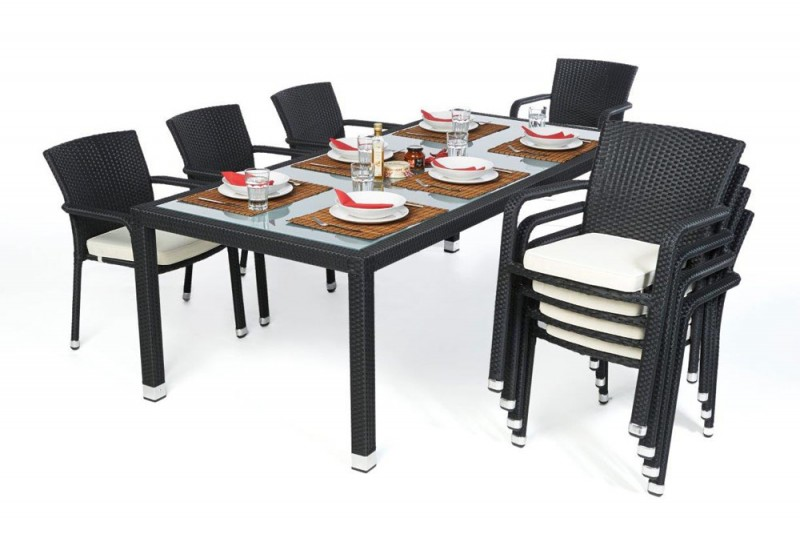 gartentische gartenst hle esstisch rattan tisch toronto 220cm schwarz. Black Bedroom Furniture Sets. Home Design Ideas