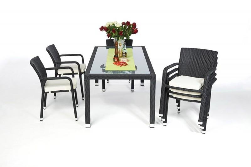edler gartentisch mit milchglaseinlage und stapelbaren st hlen toronto schwarz. Black Bedroom Furniture Sets. Home Design Ideas