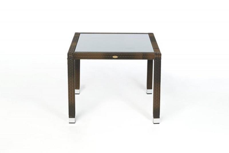 edler rattan tisch 90 x 90cm mit milchglaseinlage und stapelbaren st hlen. Black Bedroom Furniture Sets. Home Design Ideas