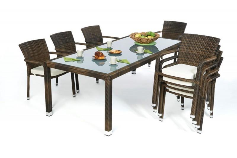 edler rattan tisch mit milchglaseinlage und stapelbaren st hlen. Black Bedroom Furniture Sets. Home Design Ideas
