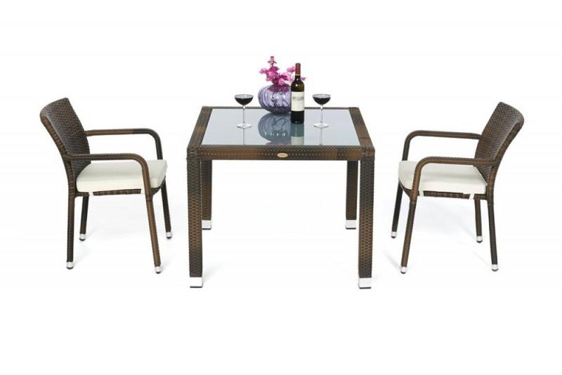 Edler Rattan Tisch - 90 x 90cm mit Milchglaseinlage und ...