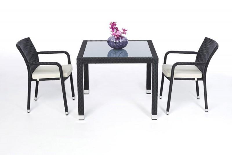 Edler Gartentisch 90 x 90cm mit Milchglaseinlage und stapelbaren ...