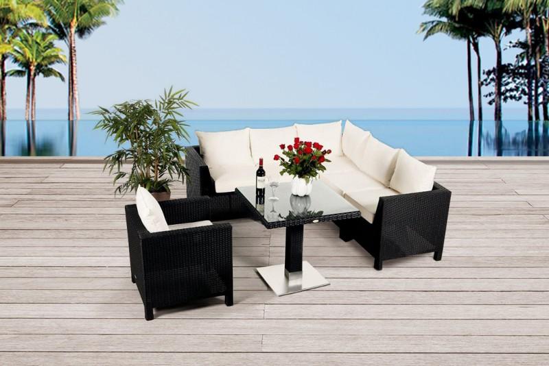 Daisy Rattan Gartenmöbel Lounge Schwarz