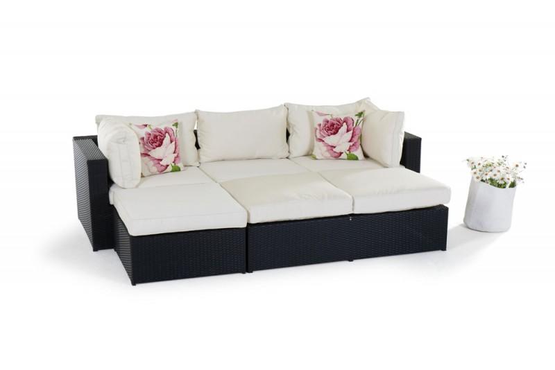 gartenm bel rattanm bel ibiza rattan lounge schwarz. Black Bedroom Furniture Sets. Home Design Ideas
