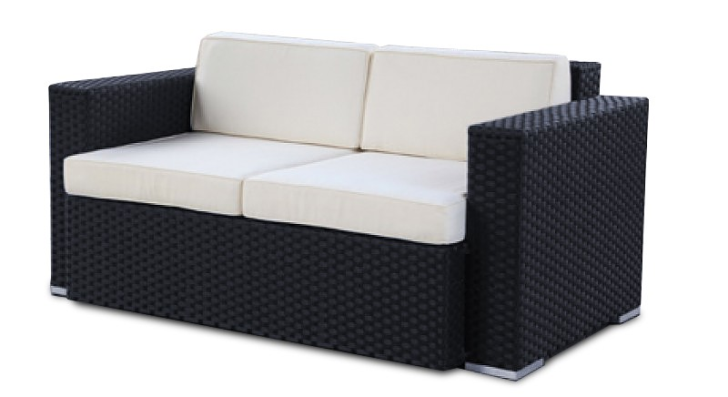 gartenm bel gartenmobiliar gartentische gartenst hle lounge melbourne 2er sofa schwarz. Black Bedroom Furniture Sets. Home Design Ideas