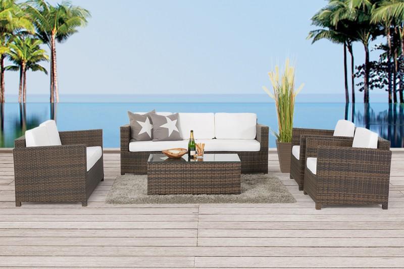 Rattan lounge braun  Loungemöbel - Gartenmobiliar - Rattan Lounge - Lilly's - Braun