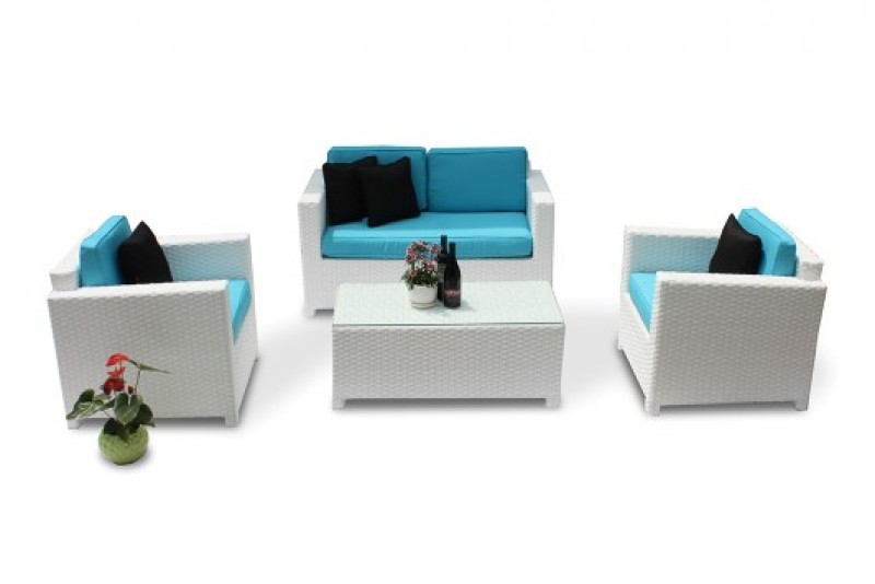Rattanmöbel Lounge Zubehör: Outdoor Lounge Bezüge in Türkis