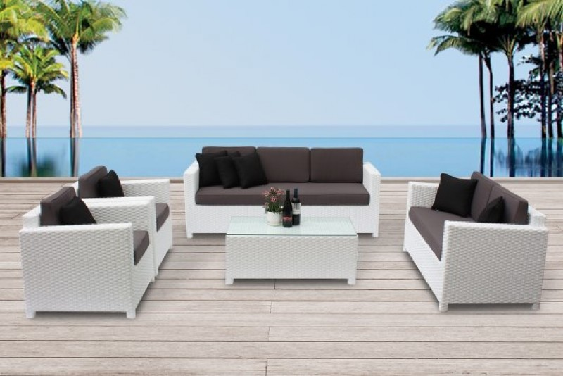 rattanm bel set lilly erstklassige rattan gartenm bel in weiss toller blickfang im garten. Black Bedroom Furniture Sets. Home Design Ideas