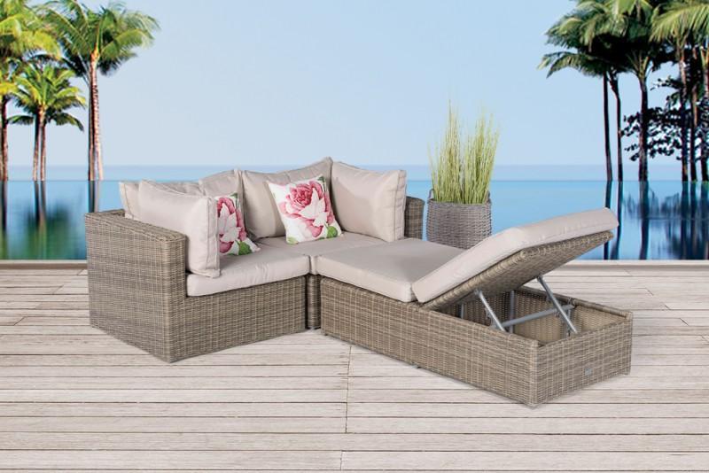 Gartenmöbel Rattan Lounge Ola Natural Round   Verstellbare Liege