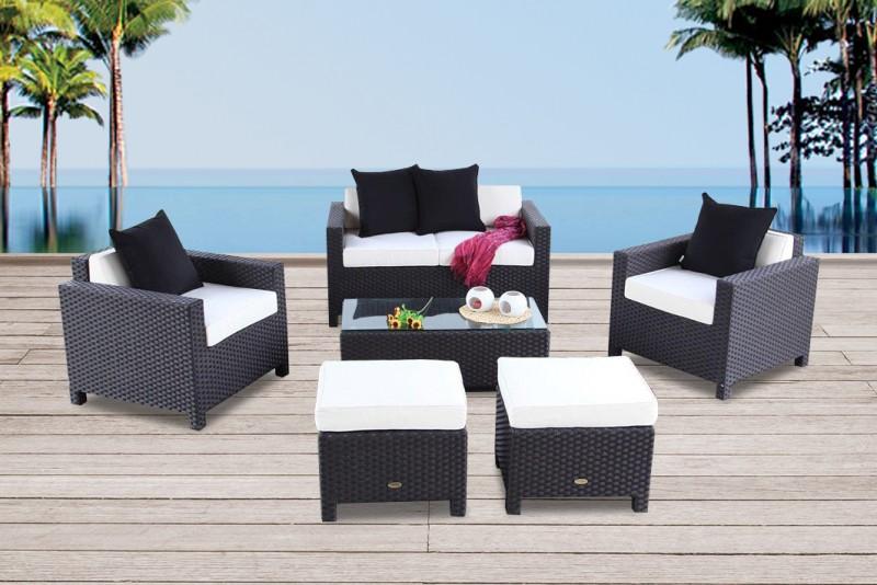 Gartenmöbel Samba Rattan Lounge Schwarz