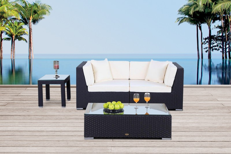 Elegant James Rattan Lounge Gartenmöbel Schwarz