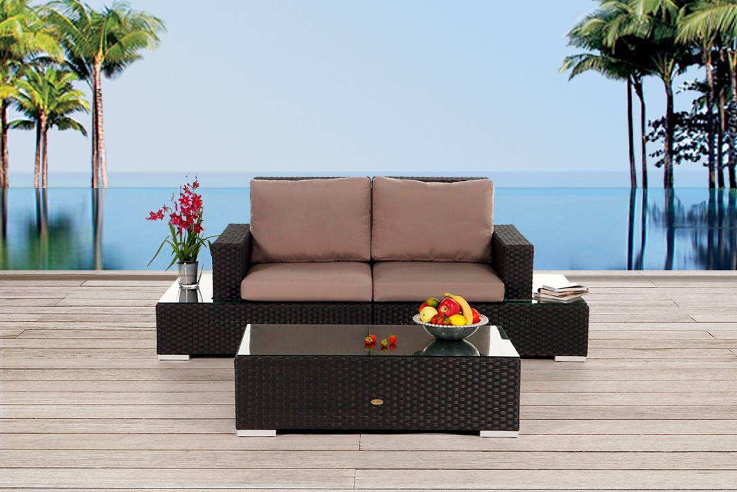 Gartenmöbel Rattan Lounge Sofa Sani Braun